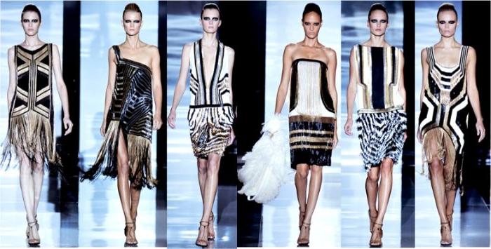 die goldenen zwanziger trend inspo von ehemaligen zeiten, sechs modelle auf der bühne, heutige mode