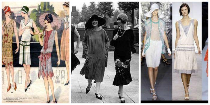 20er jahre mode frauen hose, drei fotos in einer collage, trends damals und heute, frauenmode