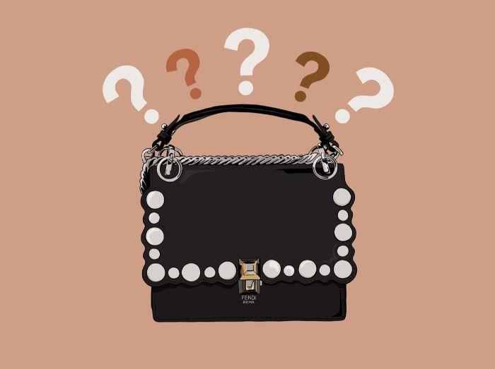 die goldenen zwanziger, eine tasche schwarz mit weißen perlen als deko, fragezeichen darüber