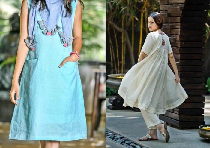 fair fashion, zwei schöne outfit ideen für damen, hellblaue outfits und cremeweiß, champagner farbe kleid