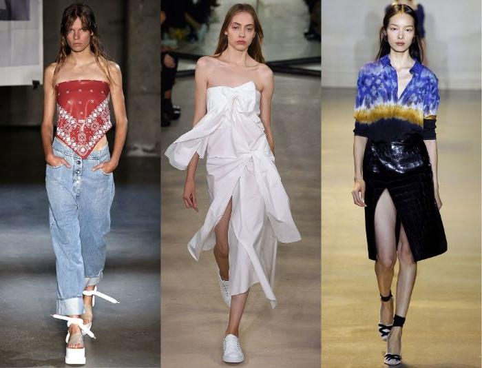 fair fashion trends auf der modebühne, drei frauen mit sportlichen outfits, sportlich elegant, weiß in der mitte, jeans mit oberteil rot