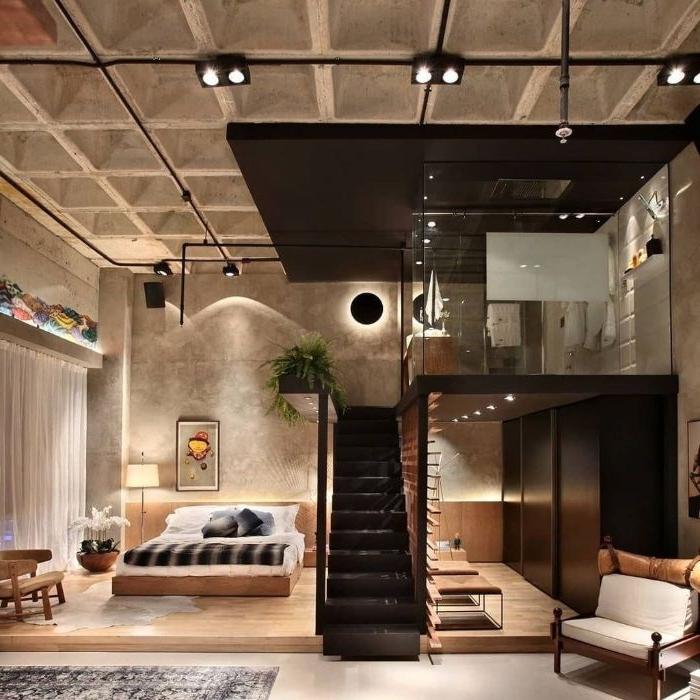 schlafzimmer ideen, kreatives design vom raum, wo es zwei stöcke für das bett gibt