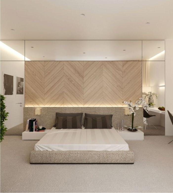 schlafzimmer ideen, ein minimalistischer zimmer stil, zwei große schwarze kissen, orchid blume