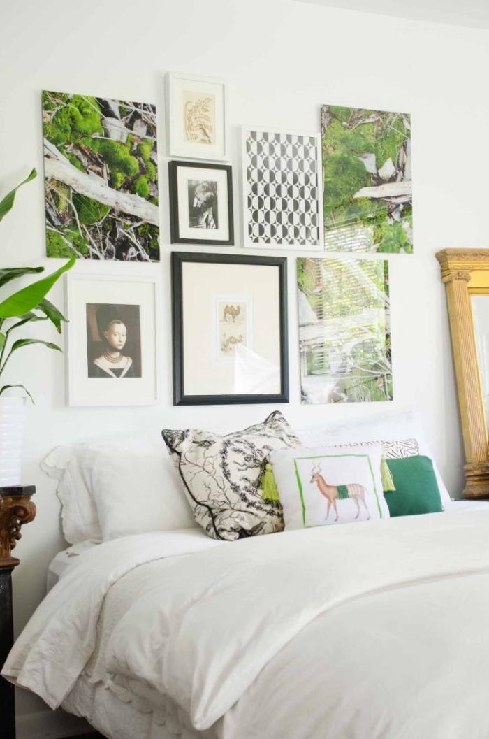schlafzimmer ideen, schlne wandbilder in weiß und grün mit schwarzen rahmen, ein weißes zimmer, elegant