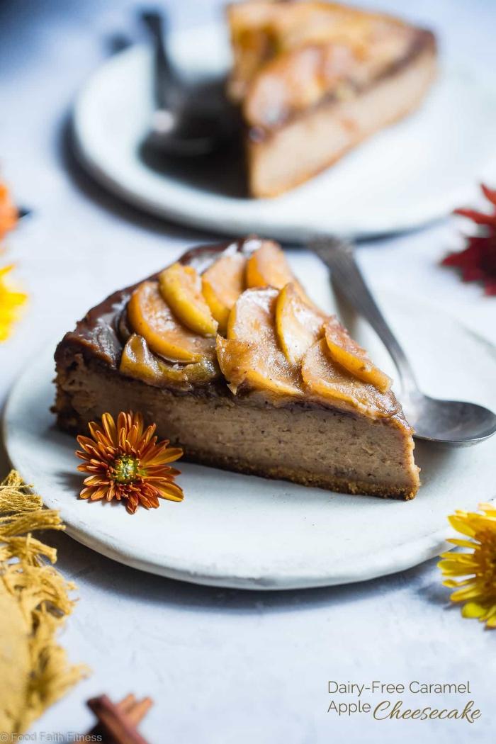apfelkuchen low carb, cheesecake mit karamell und äpfeln, kohlenhydratarm, paleo