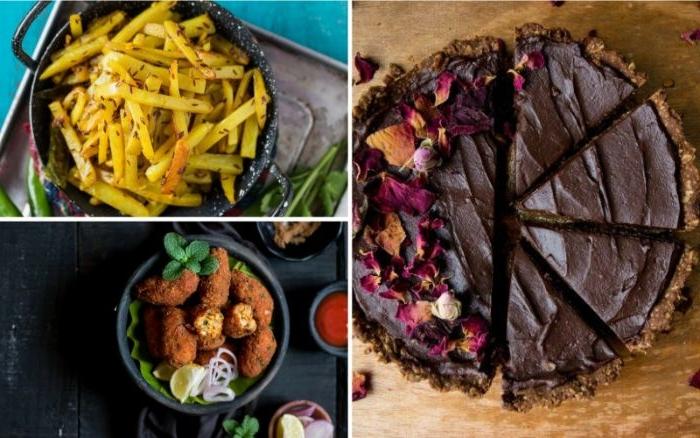 Schnelle Rezepte fürs Mittagessen, drei fotos, collage mit bildrezepten, rohe torte, kartoffeln, gesund