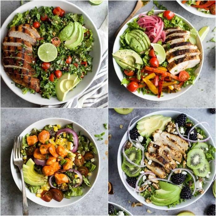 Schnelle Rezepte fürs Mittagessen, vier schüsseln, salatideen, kiwi und brombeeren grünsalat, karotten avocado, hähnchen zitrone