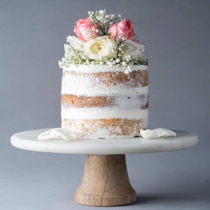 backrezepte für hochezitstorten, kleine torte, nacked kuchen, weiße sahne mit vanille