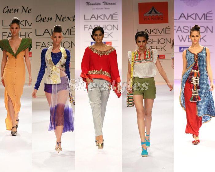 nachhaltige mode,fashion show, fünf frauen mit bunten kreativen looks, gelbes kleid grüne ärmeln