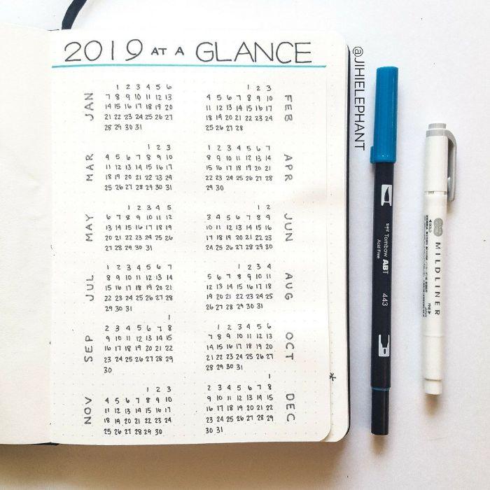 bullet journal ideen, kalender für das jahr 2019, ideen alles auf einmal sammeln