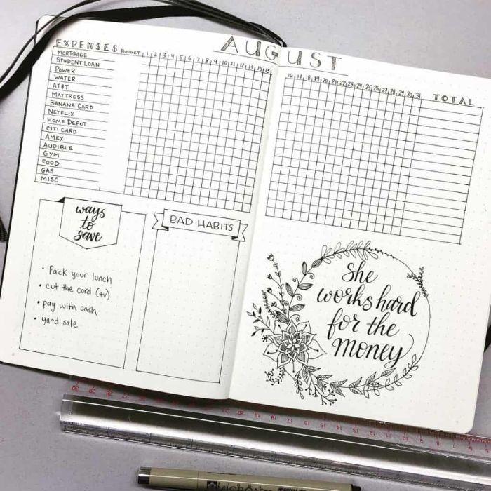 bullet journal ideen, ein offenes heft, schwarz auf weiß deko mit bild und schrift