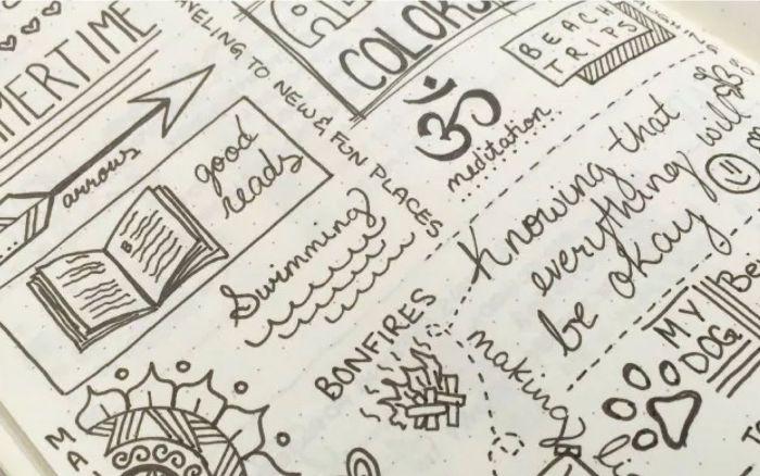 leuchtturm bullet journal, kreative gestaltungsideen, viele symbole, zeichen heft dekorieren