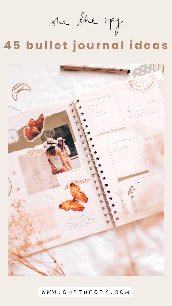 bullet journal methode, 45 ideen auf einmal doer noch mehr, archzine, inspiration, heft rosa mädchenhaft