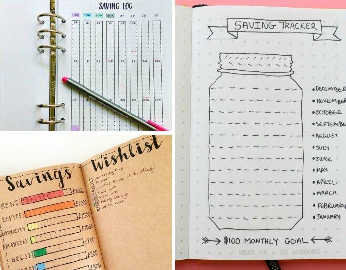 bullet journal methode, collage bild idee ein glas mit ideen und positiven schönen gedanken, lassen sie sich inspirieren, so wird journal gemacht