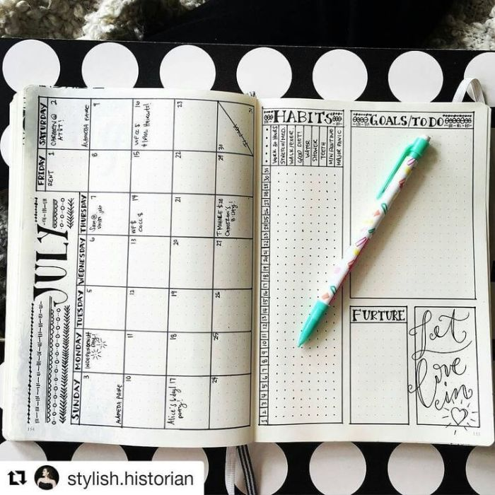bullet journal methode, eine idee zum nachmachen, kalender journal, monat planen, schwarz und weiß