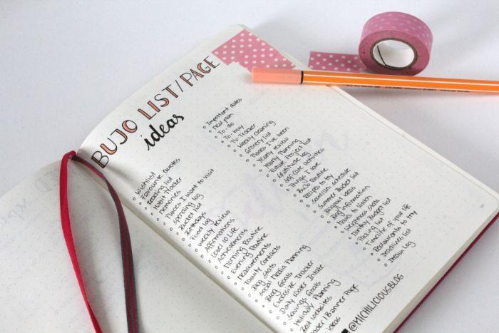 bullet journal zubehör, eine liste mit ideen und aufgaben zu tun, washi tape deko