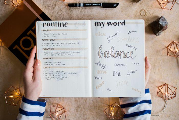 bullet journal zubehör, heft, ideen zum entlehnen, routine planen, balance im leben schaffen
