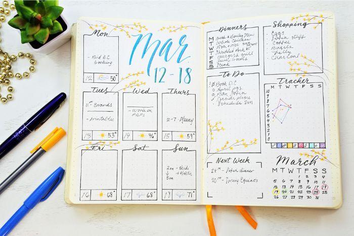 bullet journal deutsch ideen, heft weiß, wochenplanung, kalender deko ideen, stifte