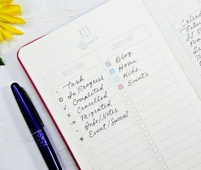 bullet journal deutsch ideen, heft weiß mit bunten stiften daran, liste mit ideen