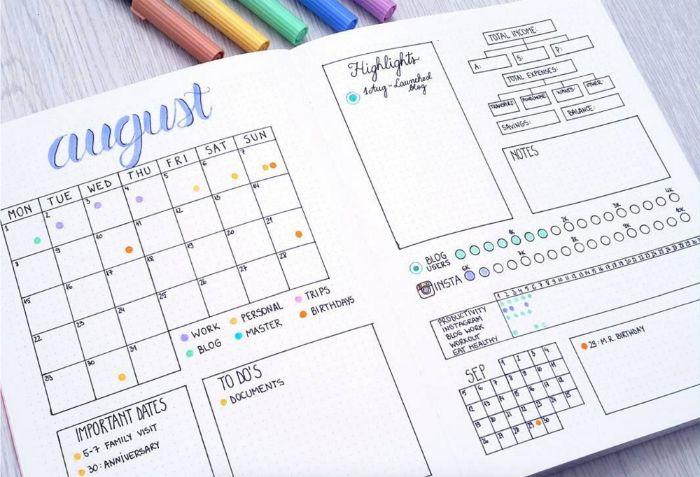 bullet journal selber machen, kalender ideen august, aufzeichnungen und ideen zum entlehnen