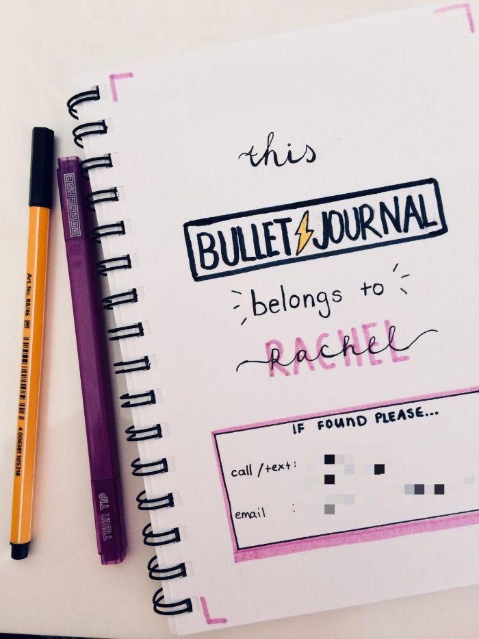 bullet journal selber machen, das ist mein bu jo, eine idee für die erste seite, dunkle stifte