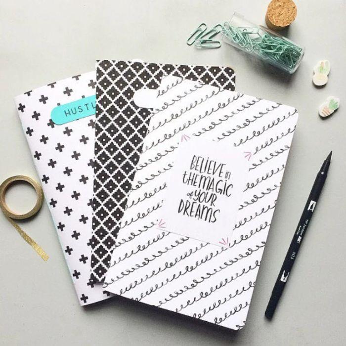bullet journal selber machen, simple minimalistische ideen für nulletjournal, washi tape, klammer, schwarz und weiß muster ideen und vorlagen
