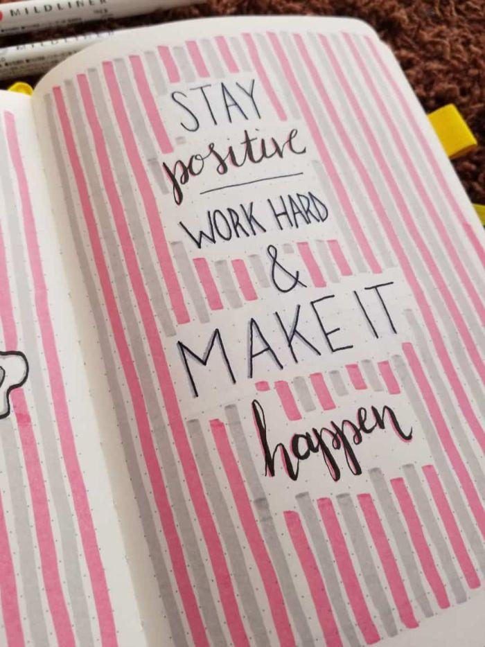 bullet journal anfänger, motivierungsspruch und rosarote laune, rosa heft, tagebuch, inspiration