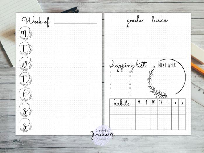 bullet journal anfänger, einfaches design wird ihnen erleichtern, um klare gedanken zu haben und notizen einfach aufzuschreiben
