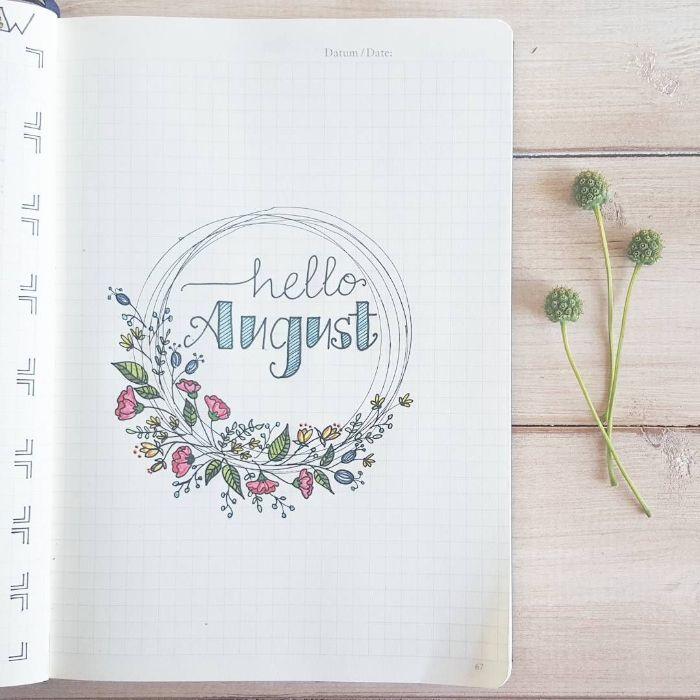 bullet journal anfänger, august kalender mit ideen und aufgaben zu tun, kreative gedanken, bunte aufzeichnung