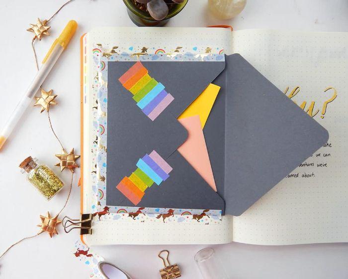 bullet journal anfänger, brieftasche, briefkasten, ideen zum entlehnen, briefkasten mit karten