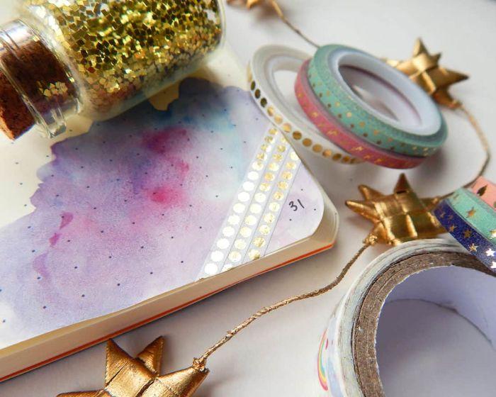 bullet journal anfänger, washi tape dekorationen für das tagebuch, einfache und bunte deko ideen
