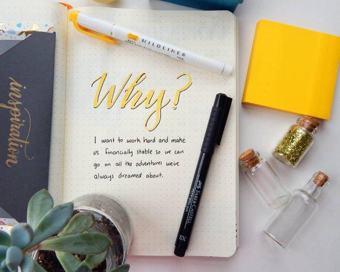 bullet journal anfänger, so wird es gemacht, ideen zum entlehnen, gelbe deko, glitter, stifte