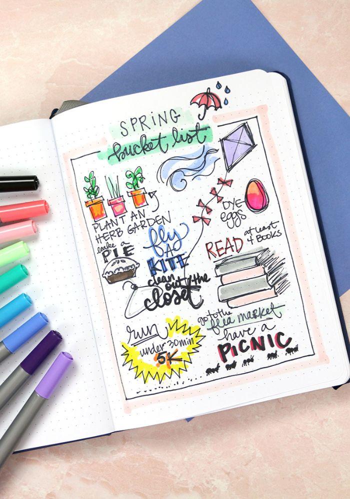 bullet journal erste seite, bunte gestaltung, ideen für schüler und schülerinnen, piknik, pflanzen, herbst
