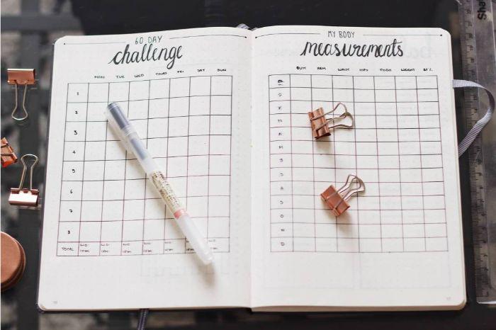 bullet journal erste seite, herausforderung ideen, kalender selber basteln und viele ideen dort aufschreiben