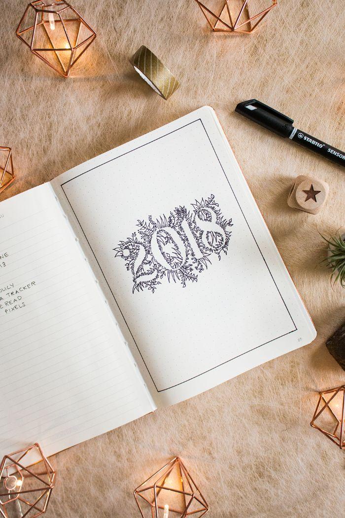 bullet journal erste seite, 2018 ideen zum inspirieren, journal, washi tape ideen, tagebuch