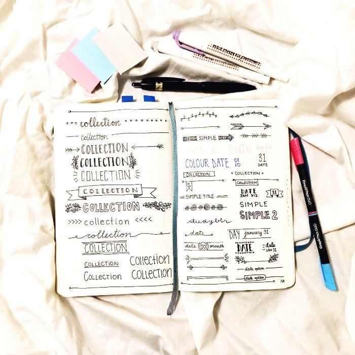 bullet journal fertig kaufen oder selbst erstellen, schwarz auf weiß gestaltungsidee