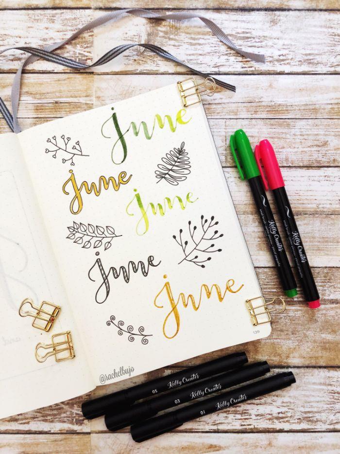 bullet journal erste seite, weißes heft mit bunten aufschreibungen, juni, bunte stifte, heft deko