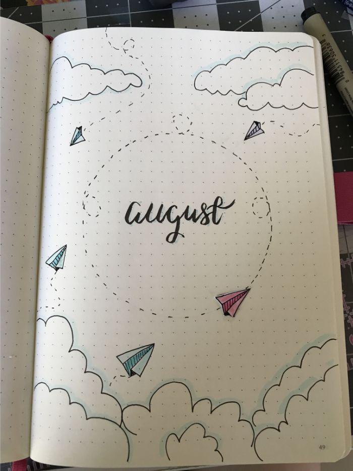 bullet journal key deutsch, august, einen monat in tagebuch aufschreiben, ideen flugpapier, tagebuch deko ideen