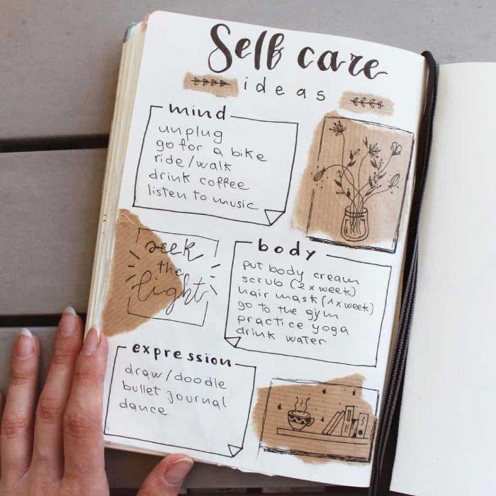 bullet journal key deutsch, ein schönes heft, dekorationen artikel inspiration, heft, selbstliebe, gedanken, sprüche, körperpflege