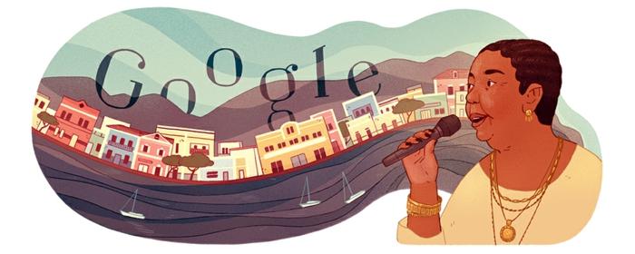 hier sehen sie das Doodle von Google, das Cesaria Evora verehrt