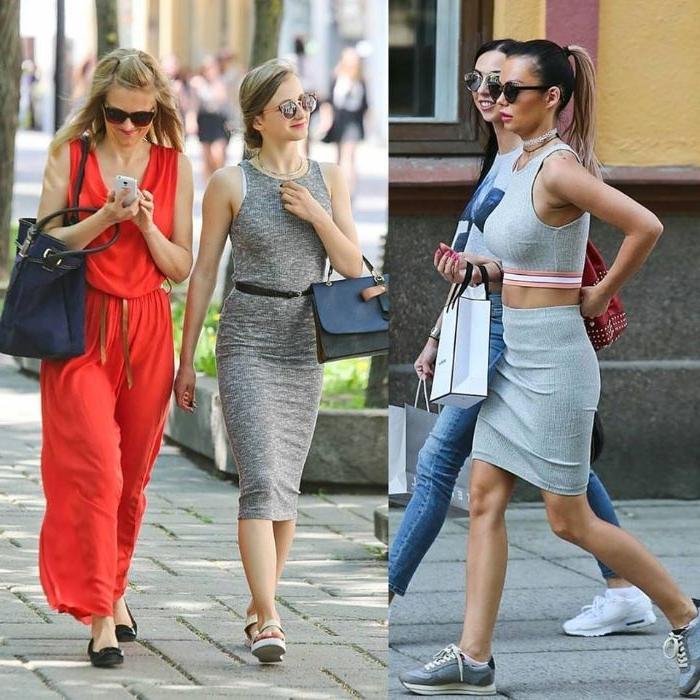 skandinavische mode für jugendlichen, schöne junge frauen in dezenten oder krassen farben, roter jumpsuit, graue outfits sportlich elegant