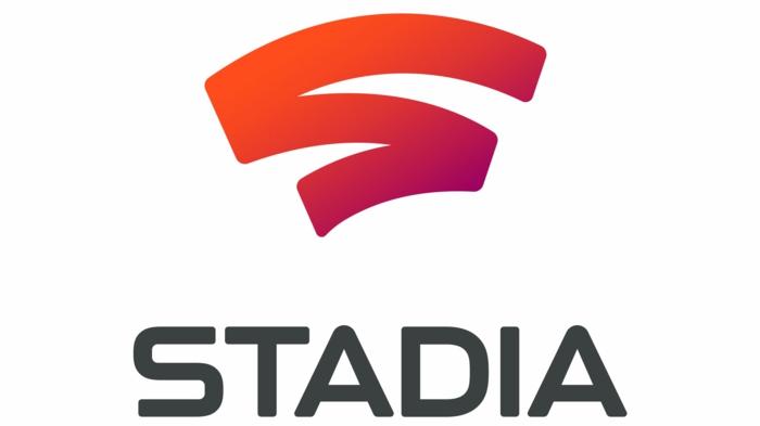 das Logo von Stadia, auf einem weißen Hintergrund, roter Buchstabe,