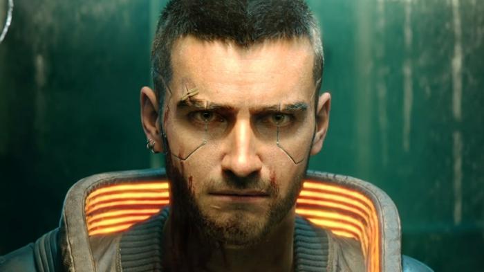 ein Spieler mit einem leuchtenden Kragen, eine Szene auf Cyberpunk 2077 auf Stadia