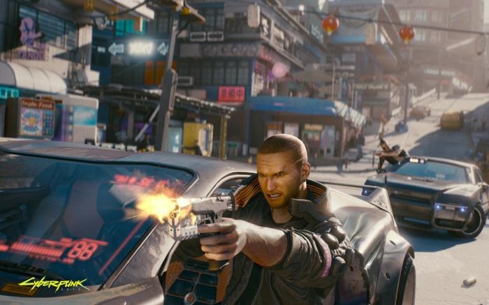 Cyberpunkt 2077, ein Held trägt ein Pistol in einem Auto, in einer Stadt, die Geschichte vom Spiel