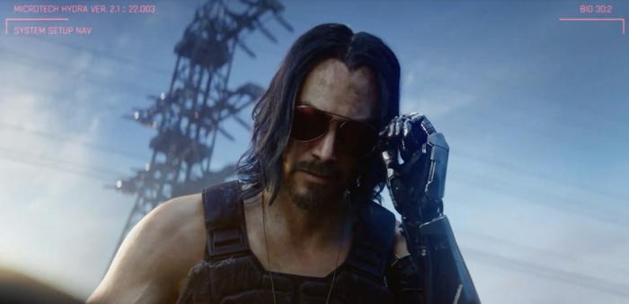 Keanu Reeves mit Sonnenbrillen auf dem Hintergrund von blauem Himmel, Cyberpunk 2077