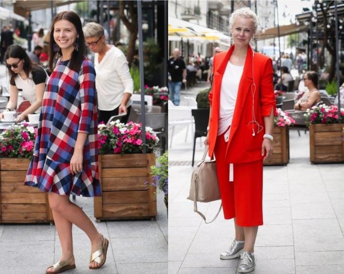 französische mode, zwei frauen zwigen die moderne skandinavische sommermode, roter anzug und buntes kariertes kleid