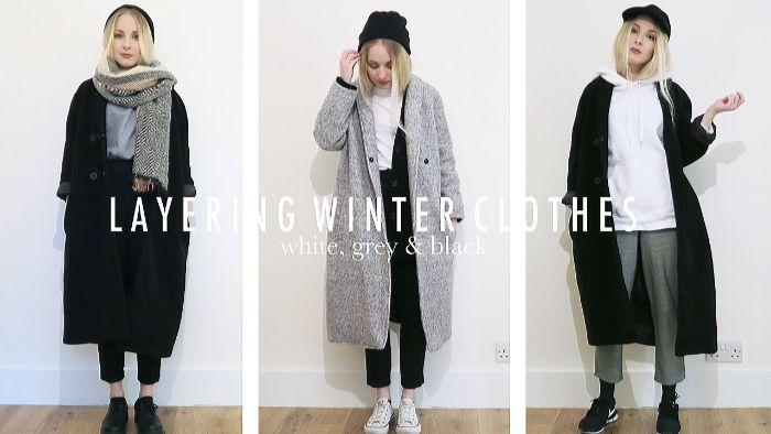 mode kataloge, drei outfit ideen für den winter, damenmode skandinavisch in schwarz, weiß und grau