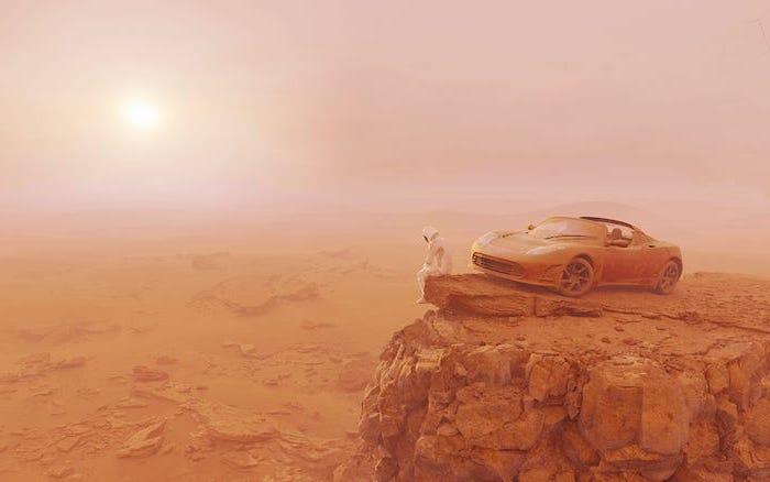 die sonne und das auto von elon musk tesla roadster und ein raumfahrer, ein fahrzeug auf dem roten planeten