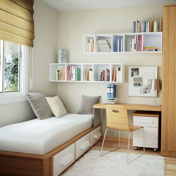 schlafzimmer deko, ein nettes zimmer, einzelbett zimmerdesign, idee mit schreibtisch, regale, fenster