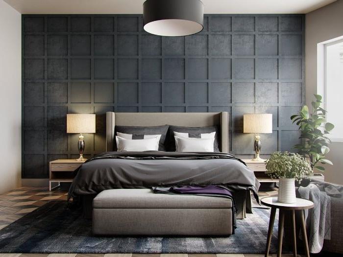 schlafzimmer einrichten, graues design, zimmer idee, schöne gestaltung, zwei große weiße kissen, zwei stehlampen auf den beiden seiten